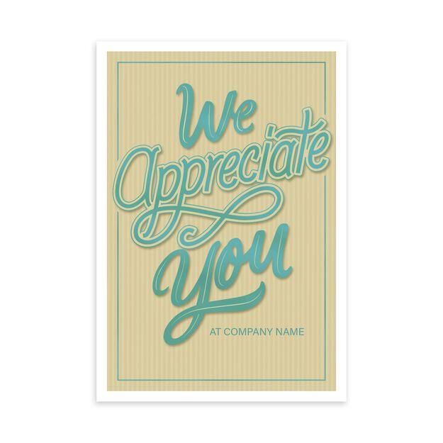 Shining Teal & Tan Customizable Cover Appreciation Card