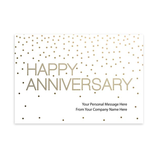 Gold & White Customizable Cover Work Anniversary Card