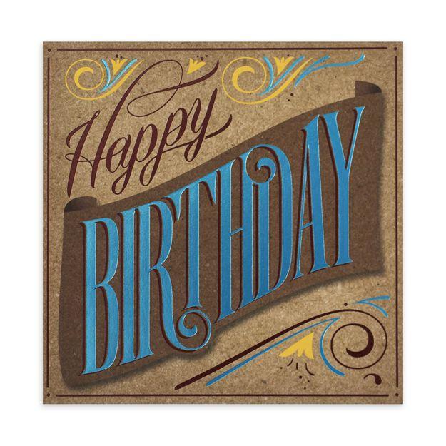 Copper & Blue on Kraft Paper Birthday Card