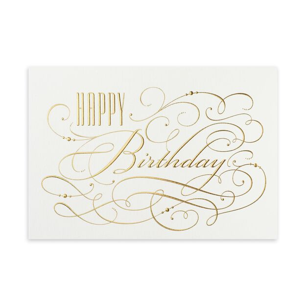 Gold & White Elegance Birthday Card
