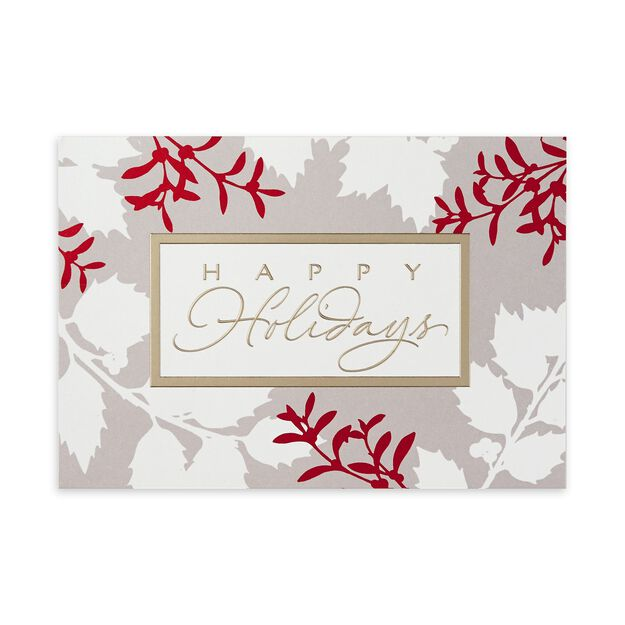 Holly Silhouettes Premium Holiday Card