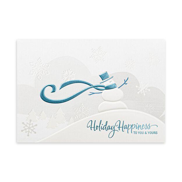 Stylish Snowman Premium Holiday Card