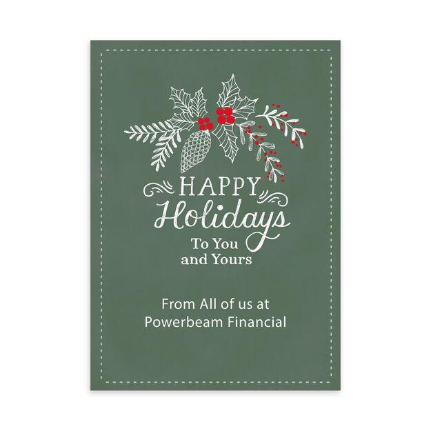 Chalk Holly Customizable Holiday Card