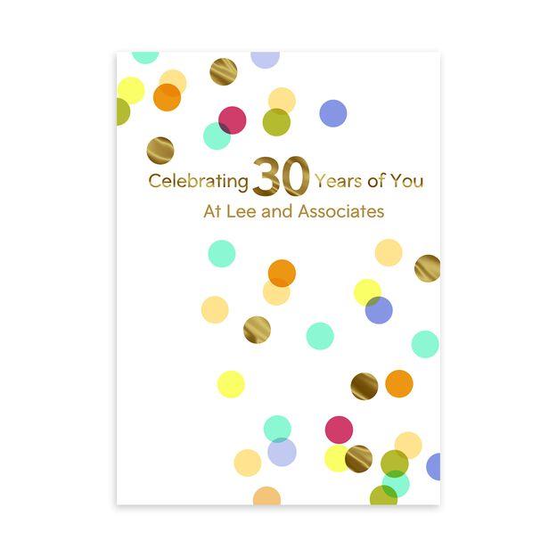 30 Year Celebration Customizable Anniversary Card