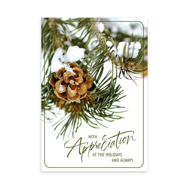 Pinecone Holiday Appreciation Card