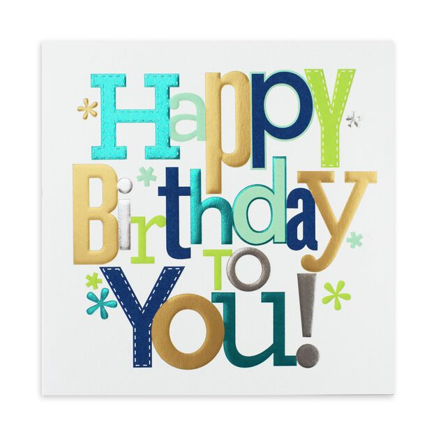 Triple Foil Wish Birthday Card