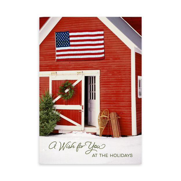 Red Barn & American Flag Holiday Card