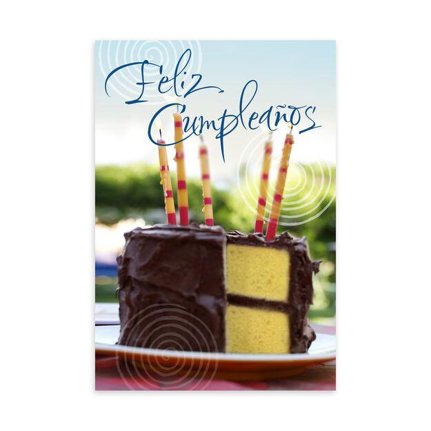 Feliz Cumpleaños & Chocolate Cake Spanish Birthday Card