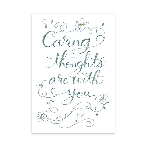 Lettering & Flowers Caring Thoughts Card