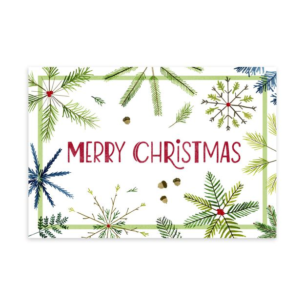 Pine Snowflakes Christmas Card