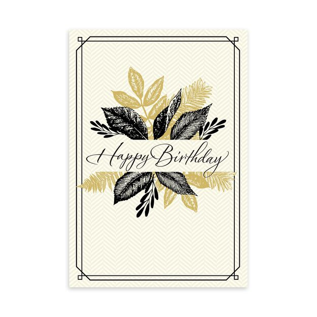 Black & Tan Leaves Birthday Card
