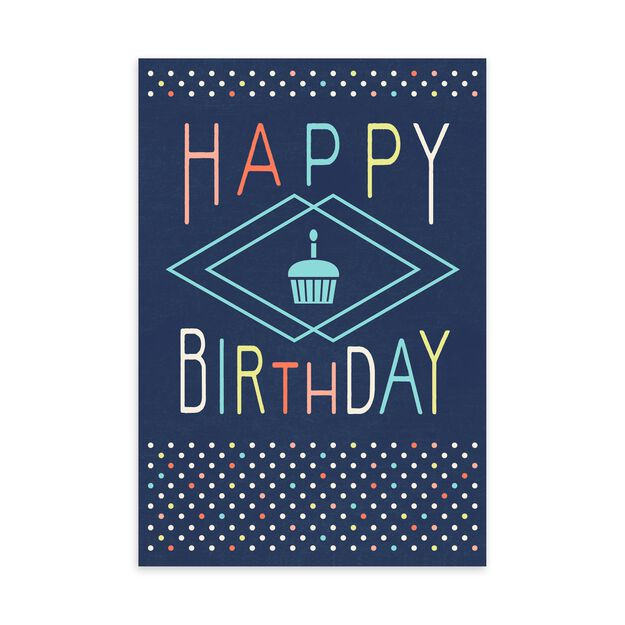 Cupcake on Blue Birthday Card