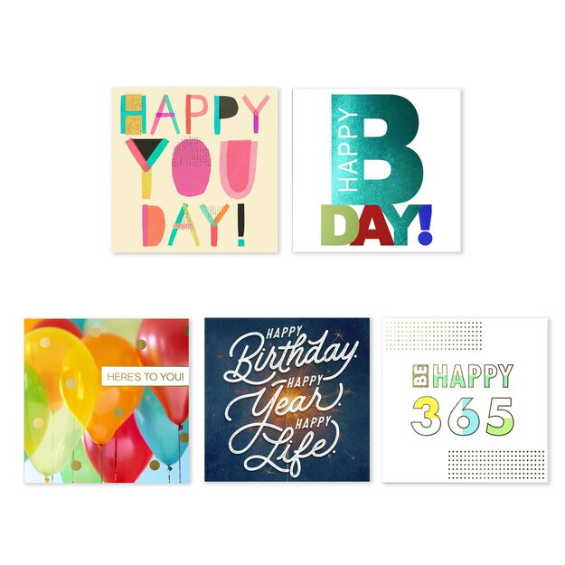 Assorted Square Birthday Cards 25 Pack