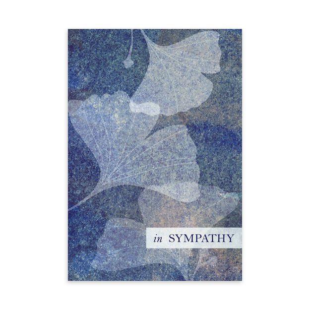 Blue & Silver Ginkgo Leaves Sympathy Card
