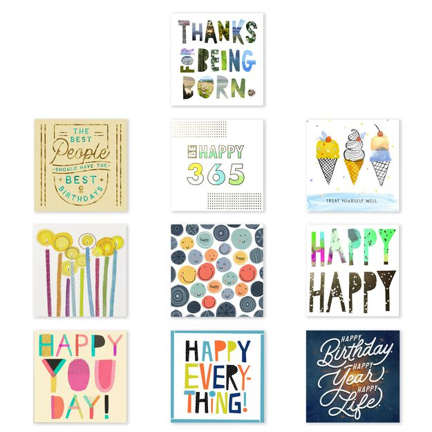 Assorted Square Birthday Cards 50 Pack