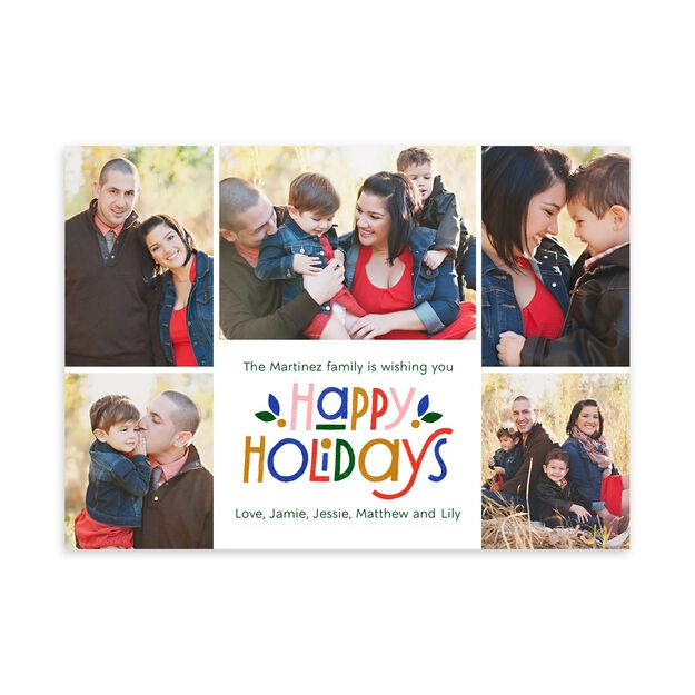 Colorful Happy Holidays Multi Photo Card