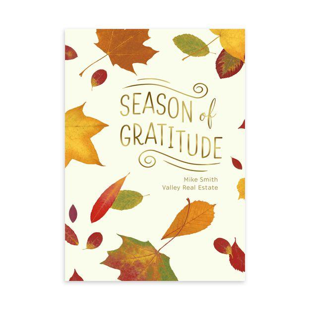 Maple Leaves & Gold Gratitude Customizable Thanksgiving Card
