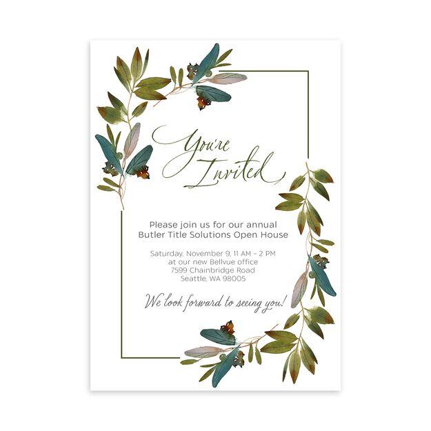 Painted Leaves Customizable Invitation