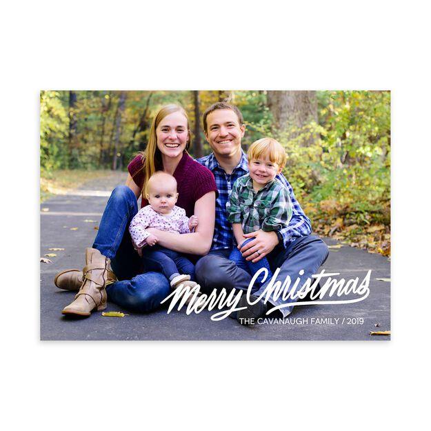 White Merry Christmas Full Photo Card