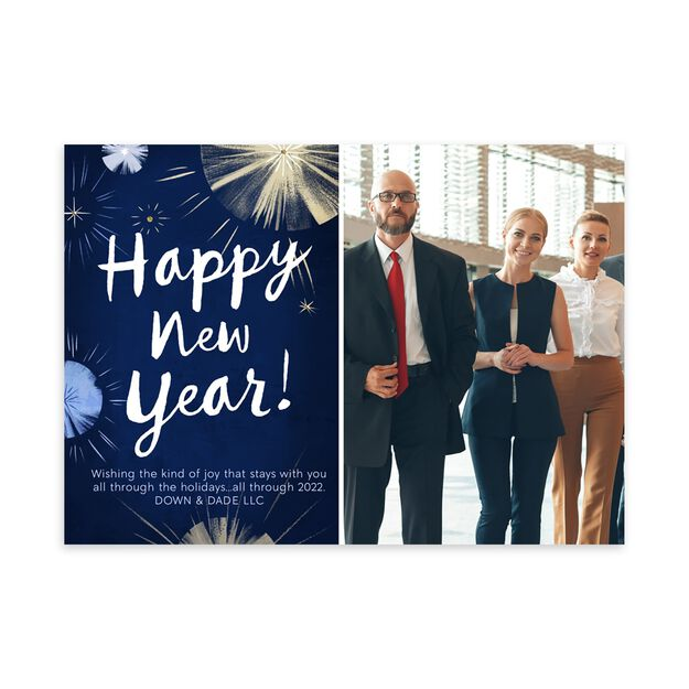 Illustrated Fireworks New Year Photo Card