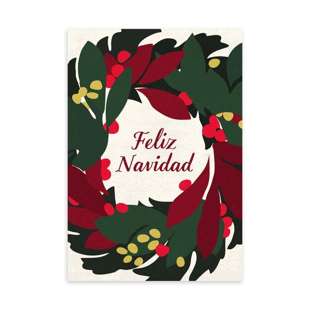 Feliz Navidad Wreath Spanish Christmas Card