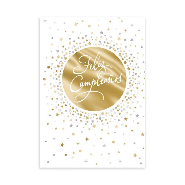 Gold & Silver Confetti Spanish Birthday Card