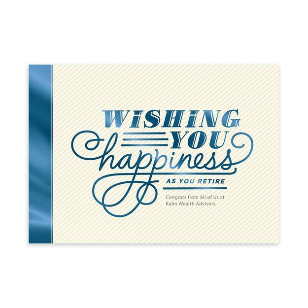 Wishing You Happiness Customizable Retirement Card