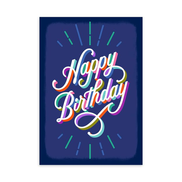 Colorful Letters on Blue Birthday Card