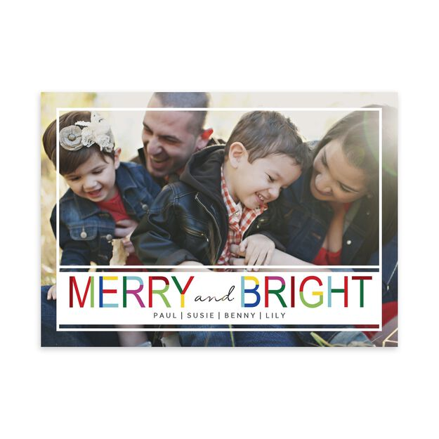 Colorful Merry & Bright Holiday Photo Card
