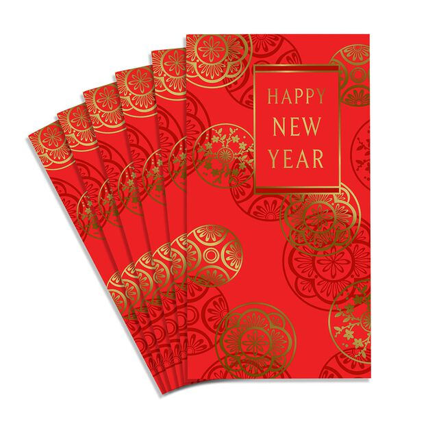 Happy New Year Lai See Red Envelopes 6 Pack