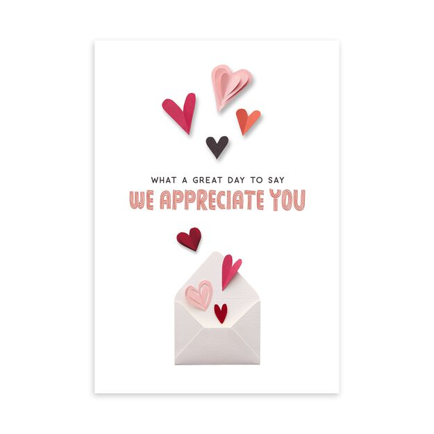 Paper Hearts & Envelope Valentine's Day Card