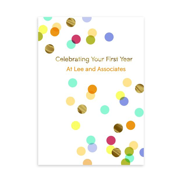 1 Year Celebration Customizable Anniversary Card