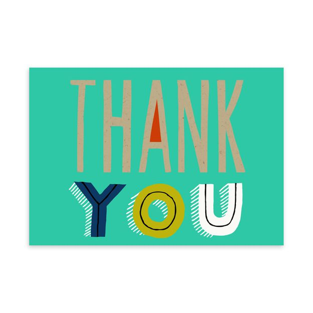 Kraft Letters on Teal Thank You Card