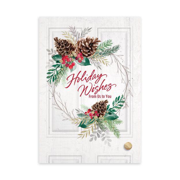 Holiday Wishes Wreath & Door Holiday Card