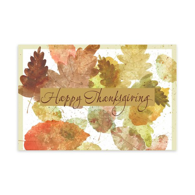 Watercolor Leaves Thanksgiving Card