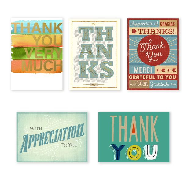 Classic Appreciation Assorted Thank You Cards 25 Pack