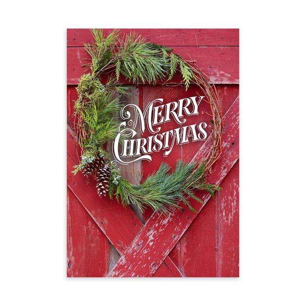 Rustic Wreath & Barn Christmas Card