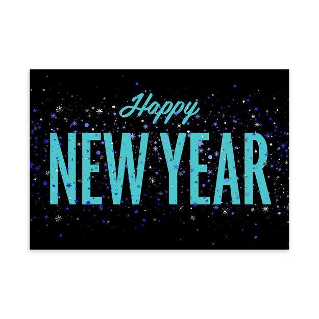 Vibrant Blue Confetti New Year Card
