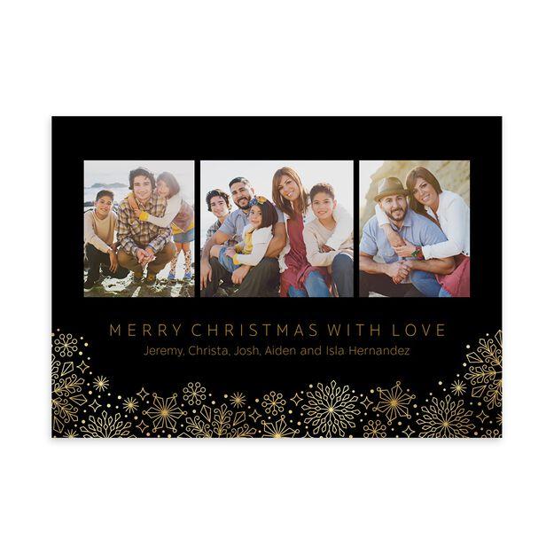 Shimmering Snowflakes Border Holiday Multi Photo Card
