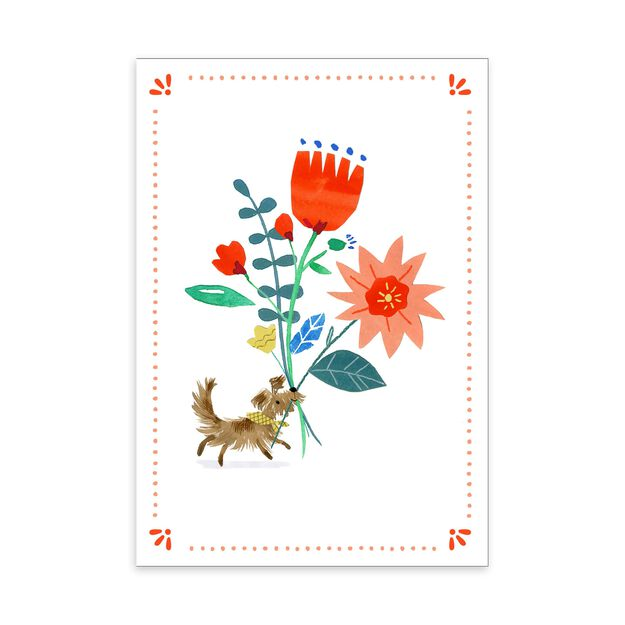Pup with Bouquet Feel Better Card