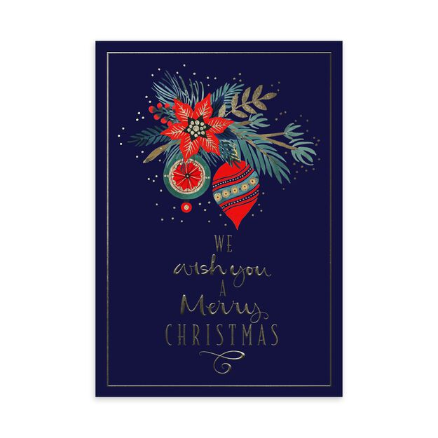 Poinsettia & Ornaments Christmas Card
