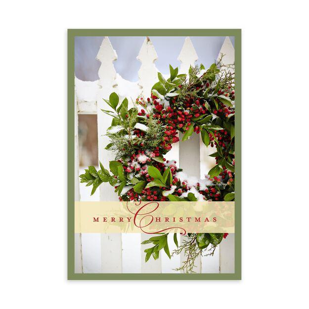Holly Wreath on Fence Christmas Card