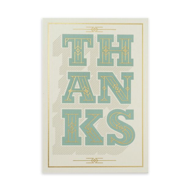 Big Thanks in Green & Gold Thank You Card