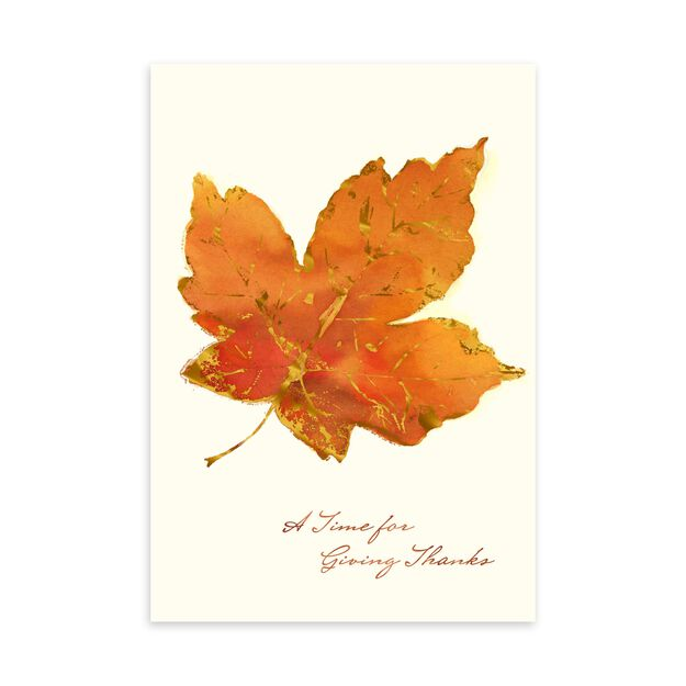Orange Leaf, Giving Thanks Thanksgiving Card