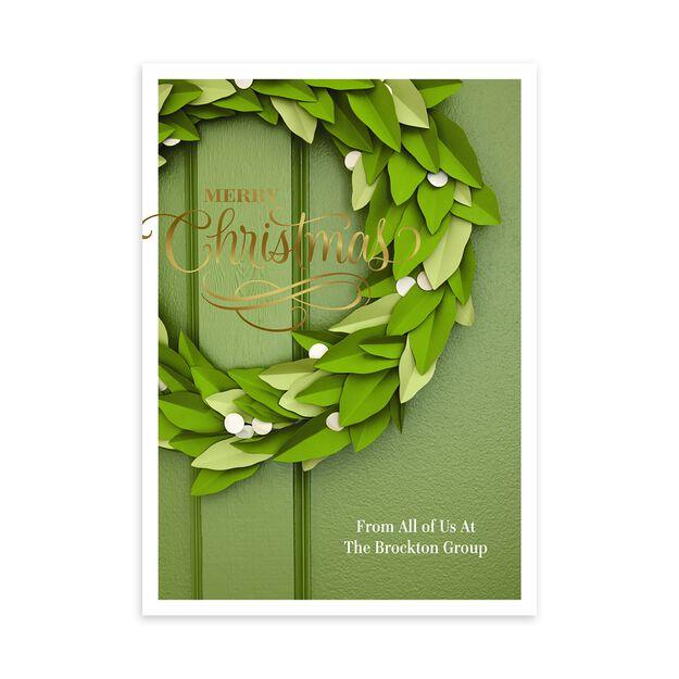 Paper Wreath & Shine Customizable Christmas Card