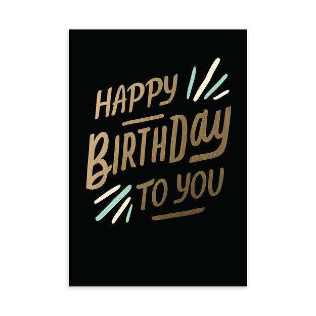 Gold, Black & Mint Birthday Card