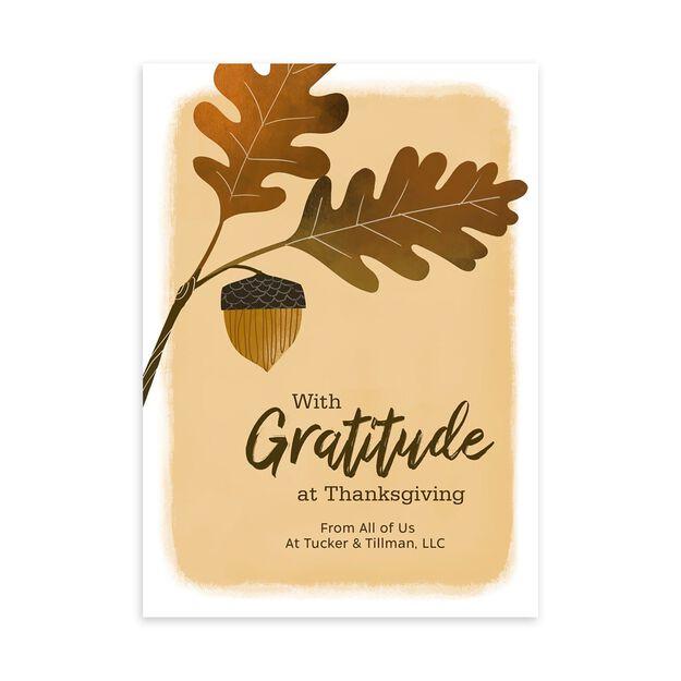 Acorn & Gratitude Customizable Thanksgiving Card