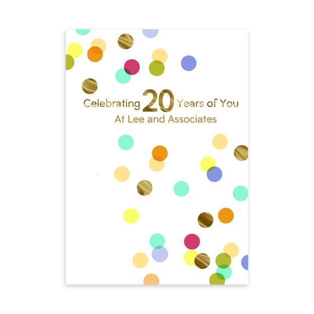 20 Year Celebration Customizable Anniversary Card