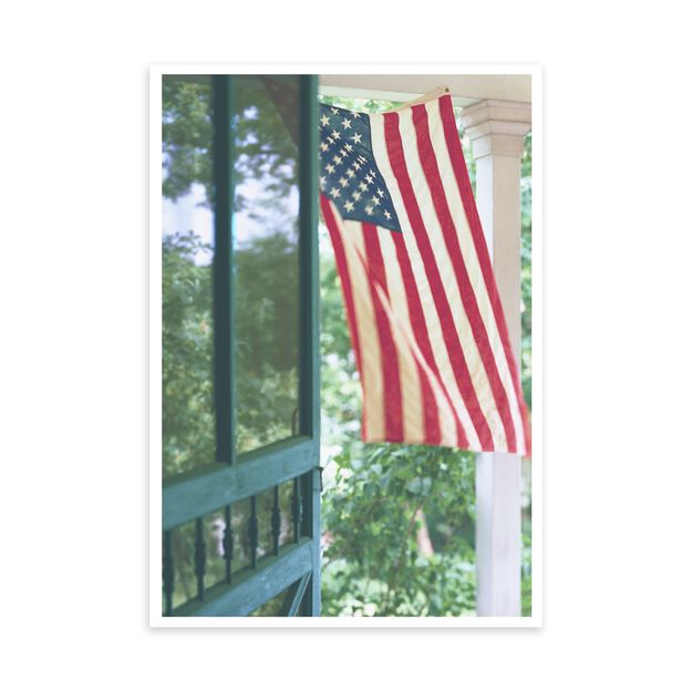 American Flag on Front Porch Patriotic Card