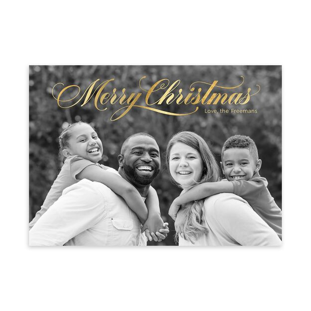 Brilliant Merry Christmas in Script Full Photo Card